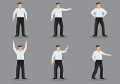 Modern Man in White Shirt and Black Trousers Vector Character Set