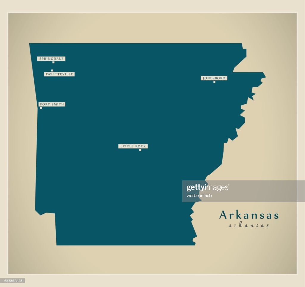 Modern Map - Arkansas USA