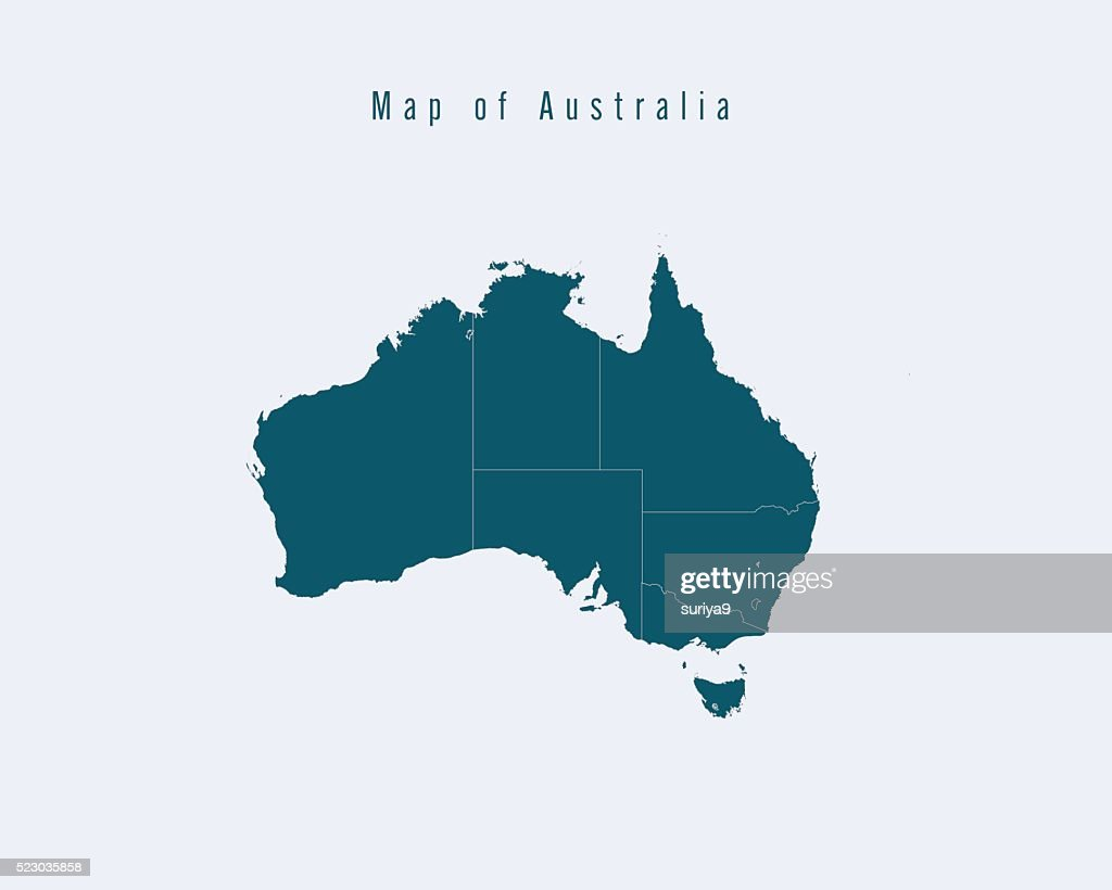 Modern Map -Australia  with federal states