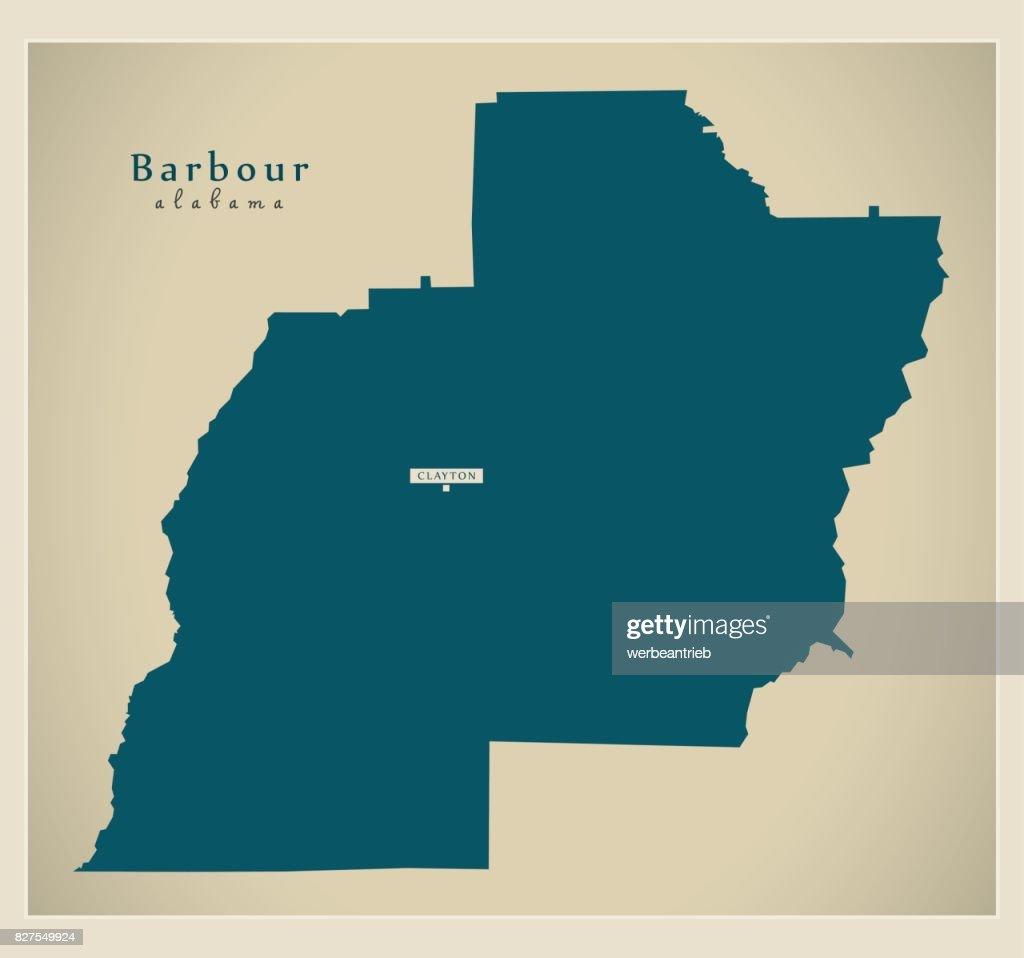 Modern Map - Barbour Alabama county USA illustration