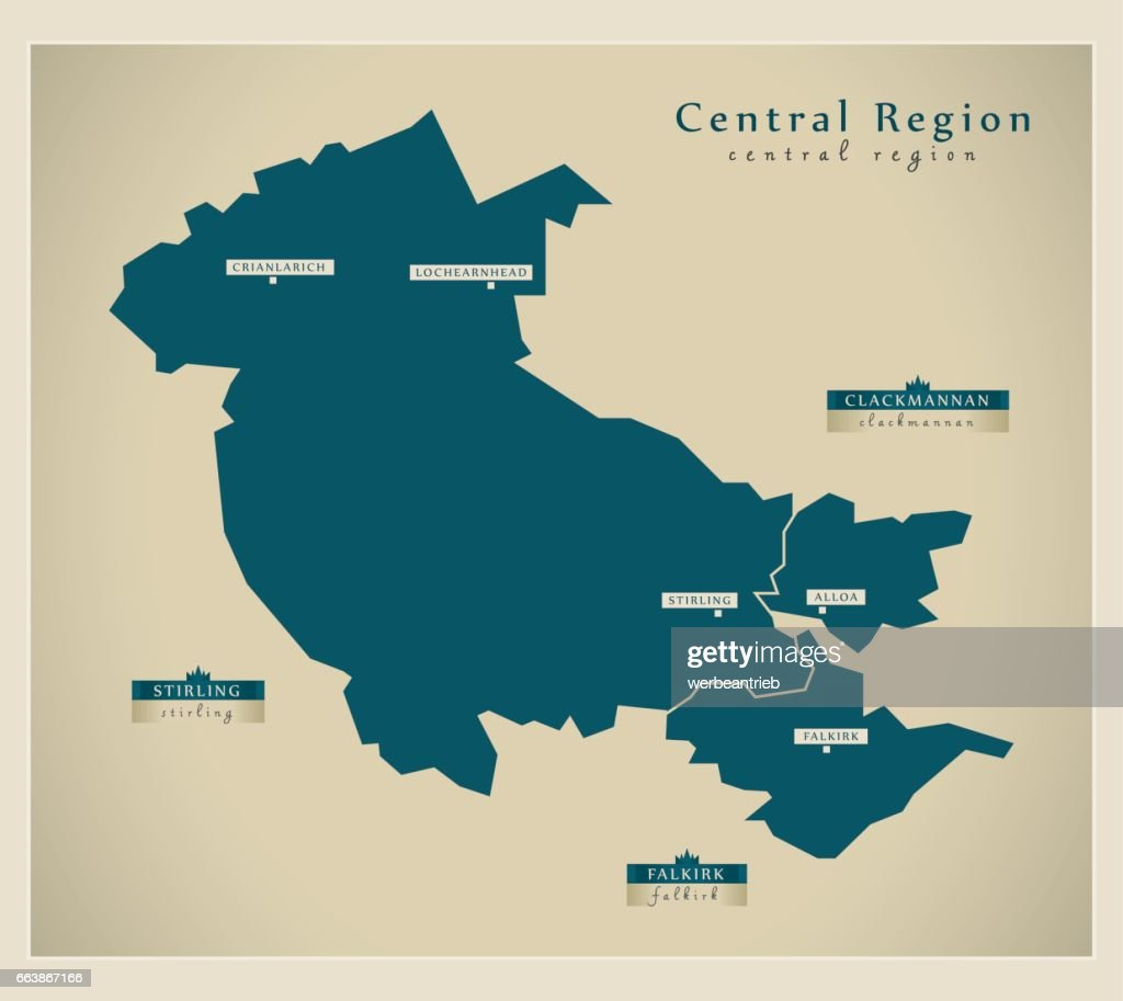 Modern Map - Central Region of Scotland UK