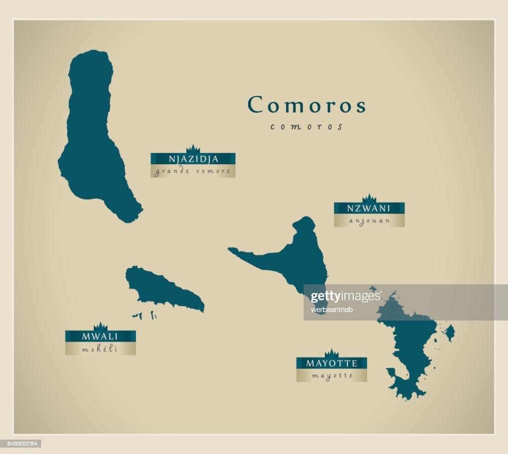Modern Map - Comoros with names KM