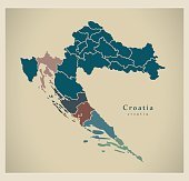 Modern Map - Croatia with counties HR