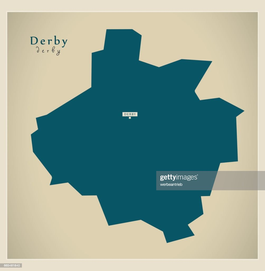 Modern Map Derby Unitary Authority England Uk Vector Art Getty Images