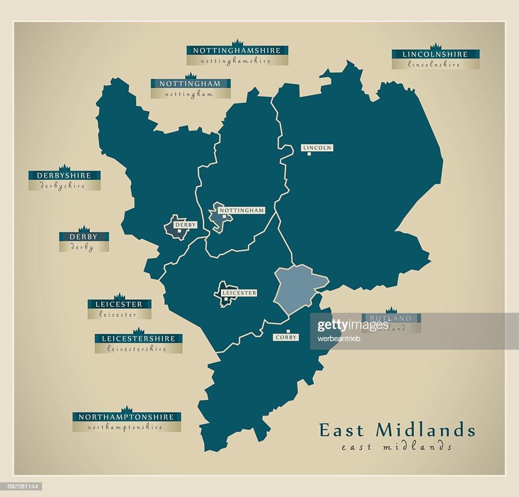 Modern Map - East Midlands UK