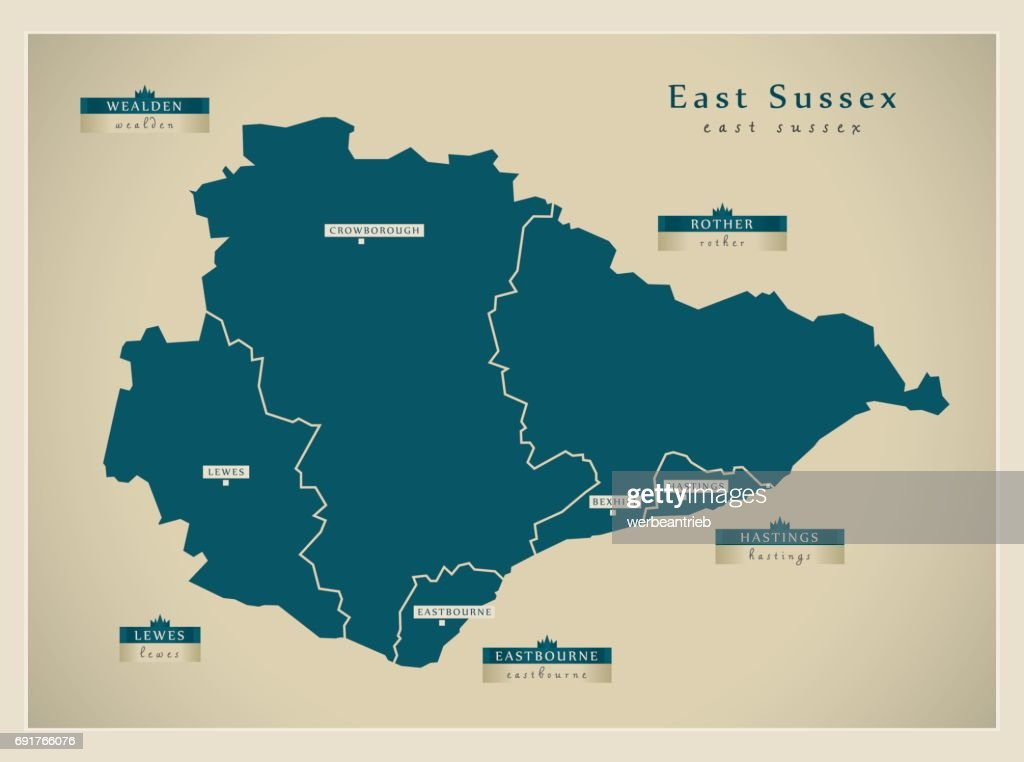 Modern Map East Sussex County With Districts Detailed Uk Vector Art