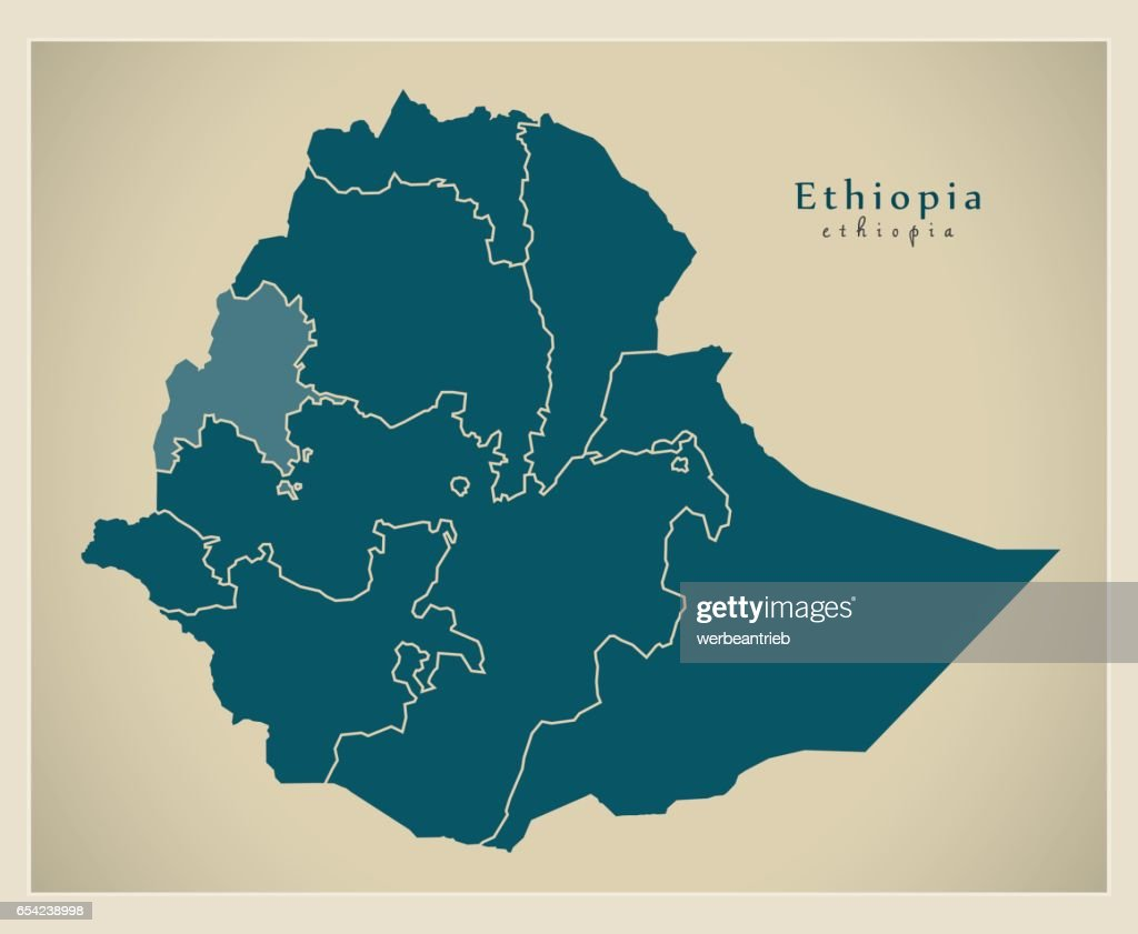 Modern Map - Ethiopia with regions ET