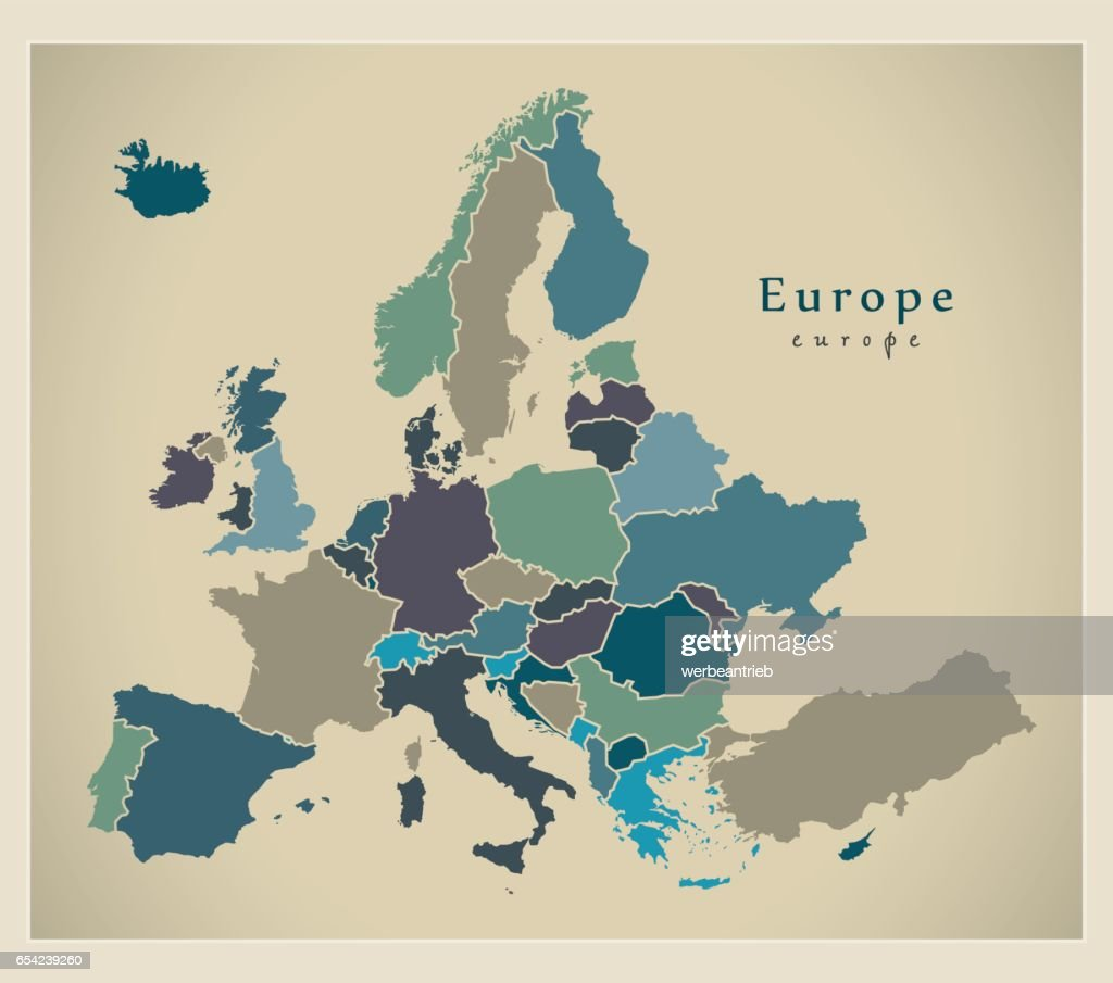 Modern Map - Europe complete with countries colored