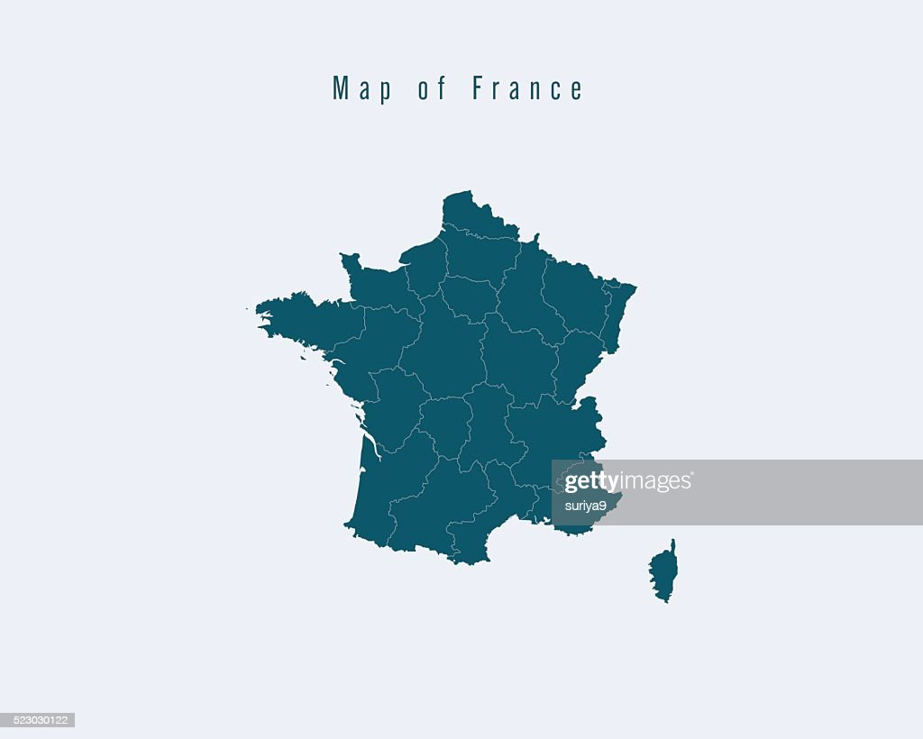 Modern Map -France  with federal states