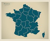 Modern Map - France with regions