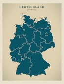 Modern Map - Germany with federal states DE illustration