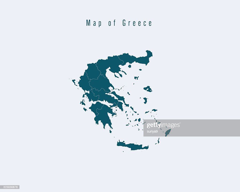 Modern Map -Greece  with federal states