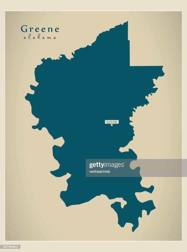 Modern Map - Greene Alabama county USA illustration