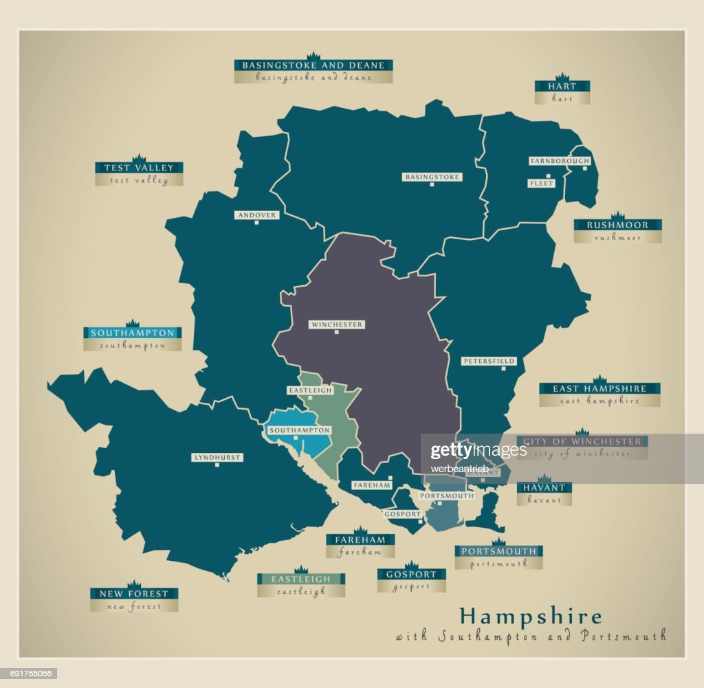 Modern Map - Hampshire county with details including Southampton and Portsmouth UK illustration