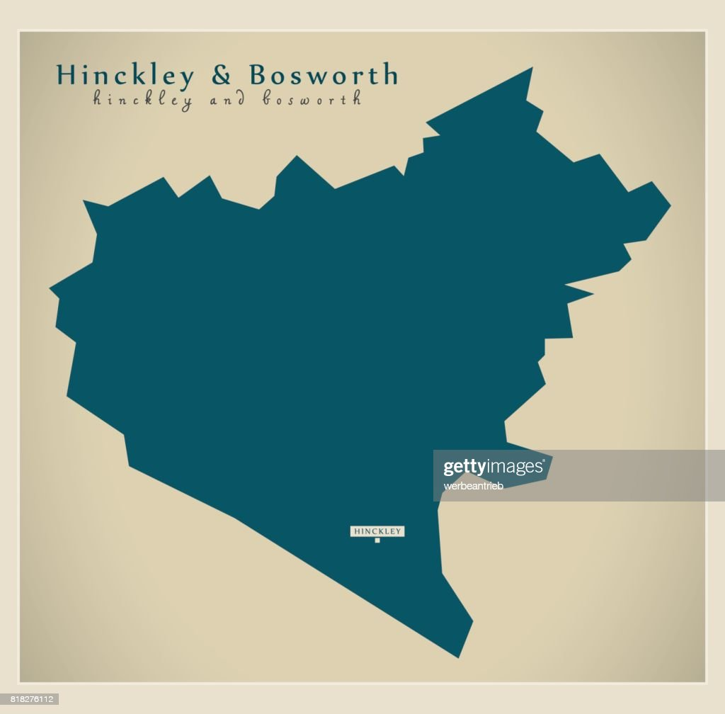 Leicestershire Uk Map.Modern Map Hinckley And Bosworth District Of Leicestershire England