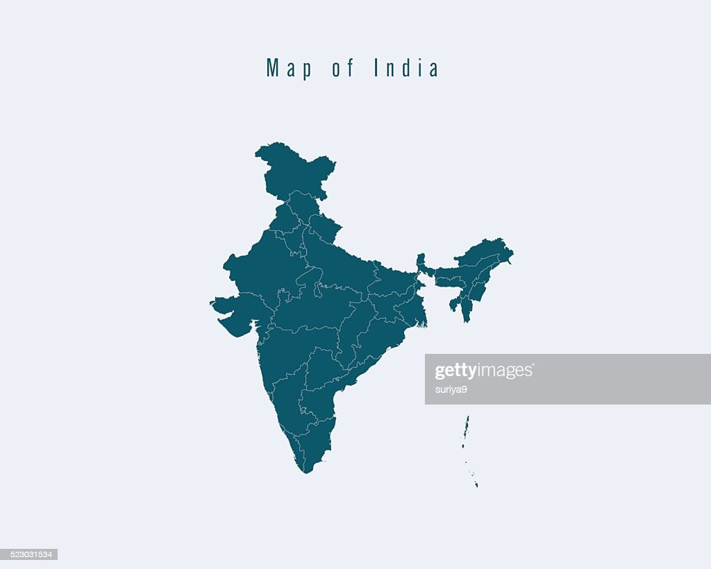Modern Map -India  with federal states