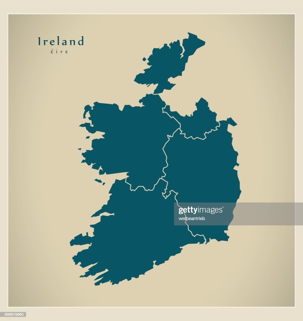 Modern Map - Ireland with counties IE