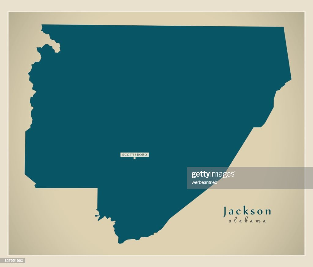 Modern Map - Jackson Alabama county USA illustration