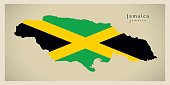 Modern Map - Jamaica flag colored JM