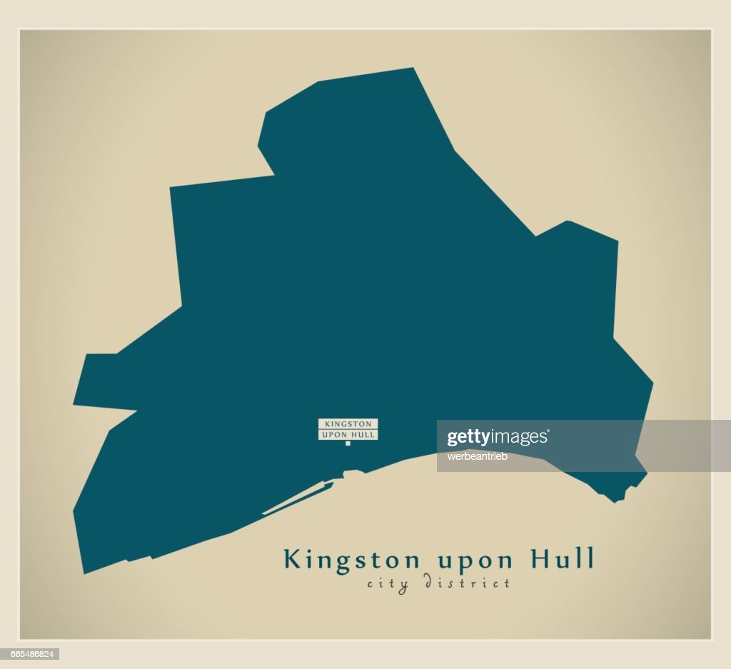 Modern Map - Kingston upon Hull unitary authority England UK