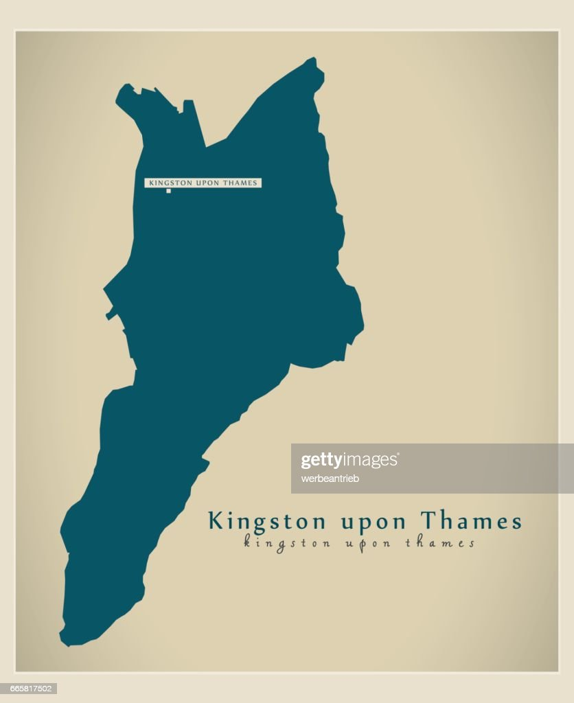 Modern Map - Kingston upon Thames borough Greater London UK England