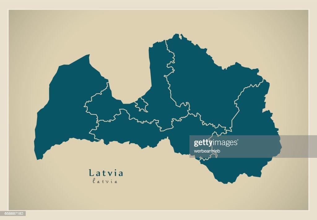 Modern Map - Latvia with regions LV