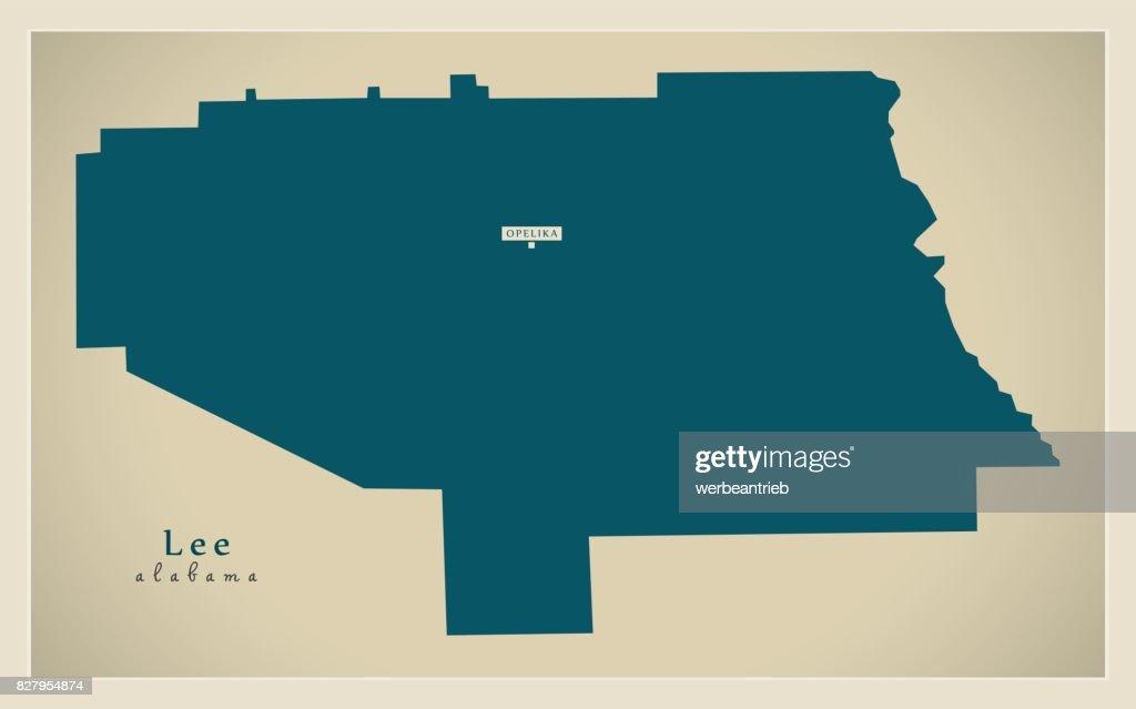 Modern Map - Lee Alabama county USA illustration