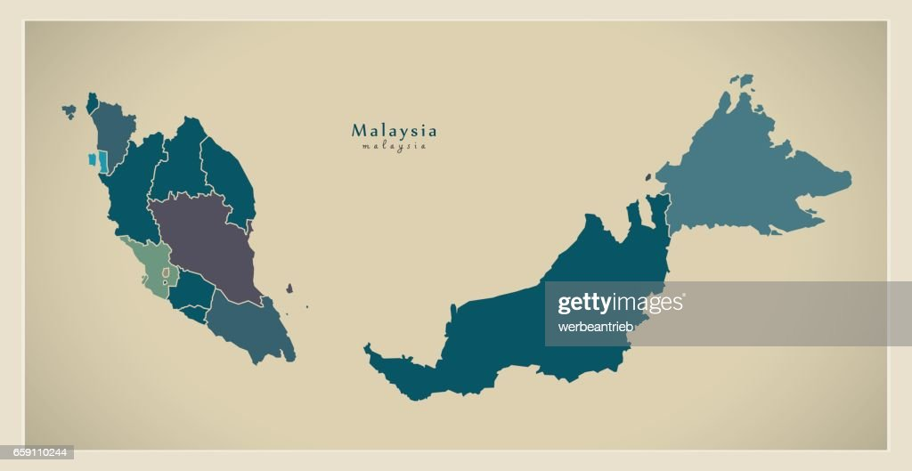 Modern Map - Malaysia with federal states MY