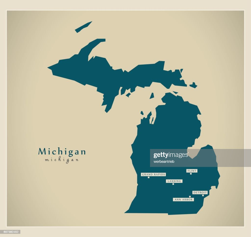 Modern Map - Michigan USA