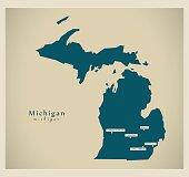 Modern Map - Michigan USA