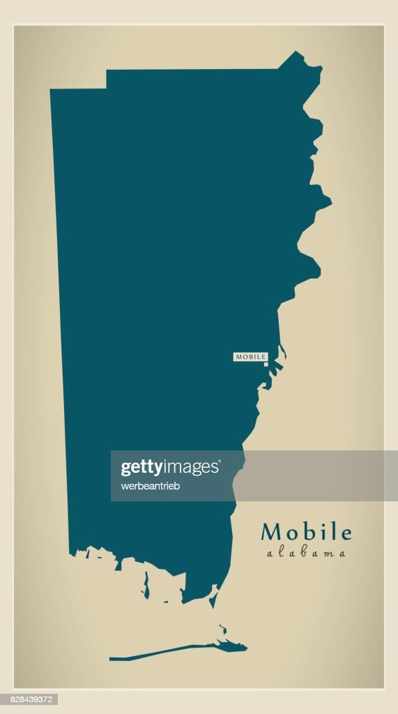 Modern Map - Mobile Alabama county USA illustration