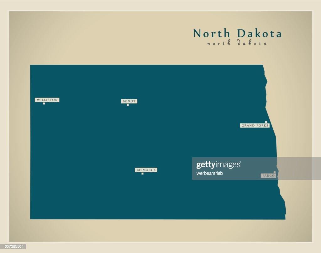 Modern Map - North Dakota USA