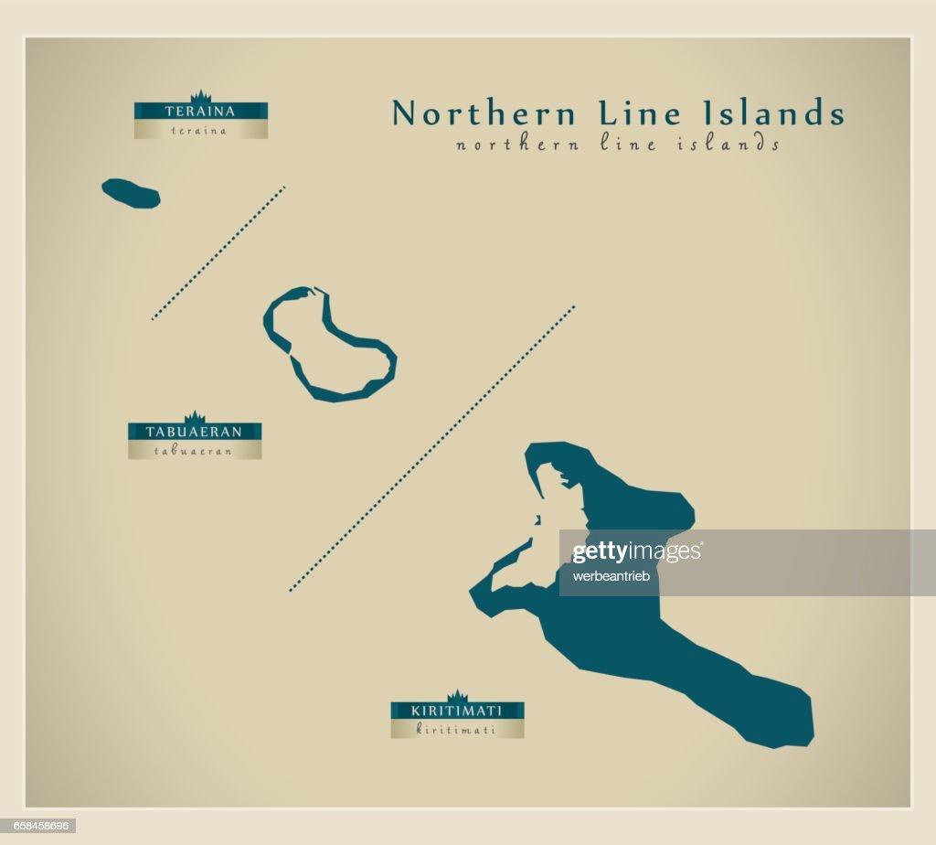 Modern Map - Northern Line Islands KI