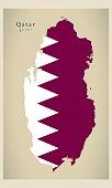 Modern Map - Qatar flag colored QA