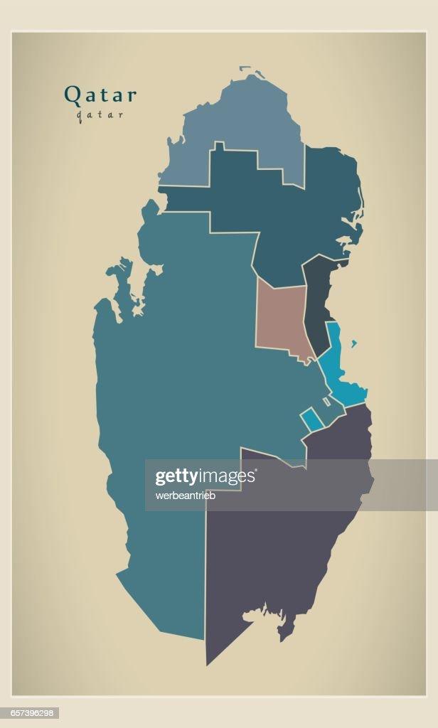 Modern Map - Qatar with municipalities colored QA