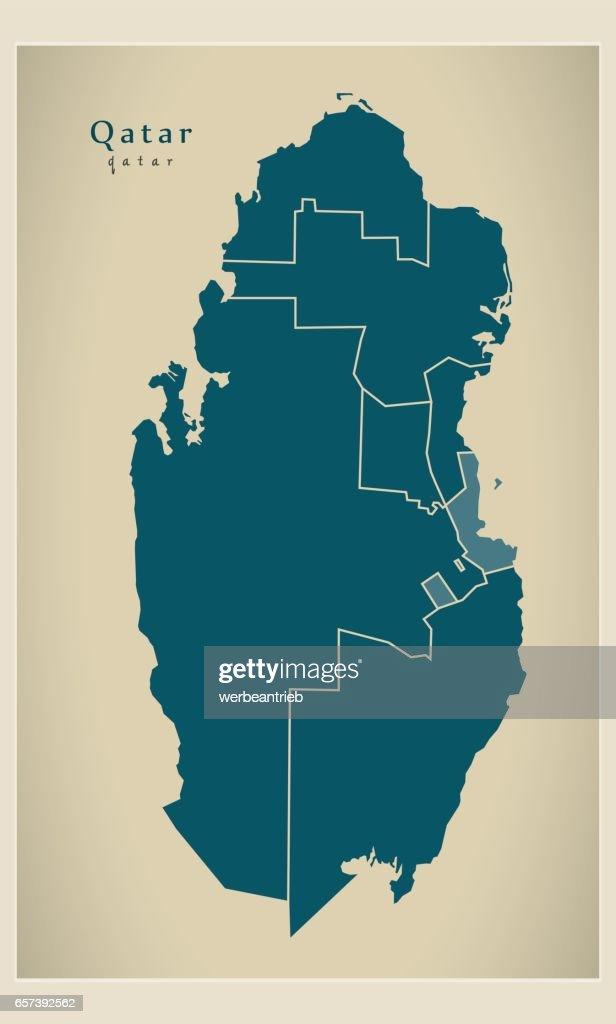 Modern Map - Qatar with municipalities QA