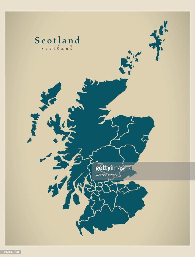 Modern Map - Scotland with regions UK