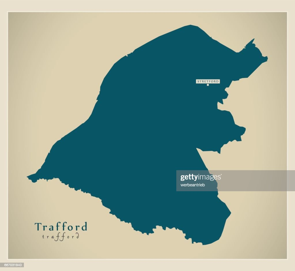 Map Of England Manchester.Modern Map Trafford Borough Greater Manchester Uk England Stock