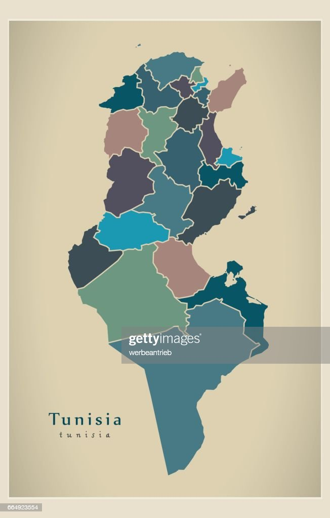 Modern Map - Tunisia with governorates colored TN