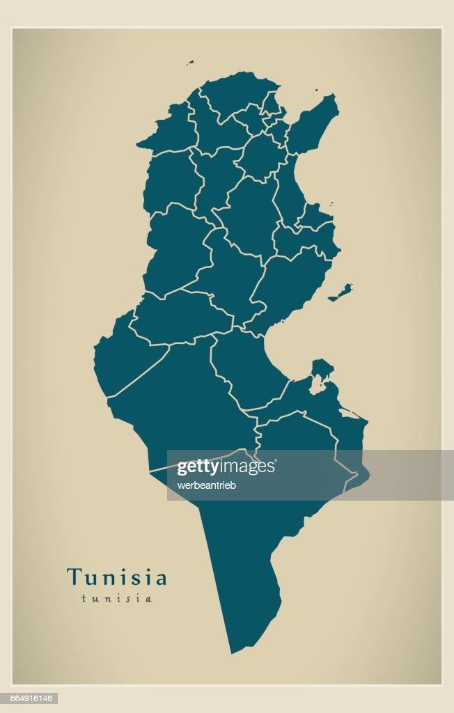 Modern Map - Tunisia with governorates TN