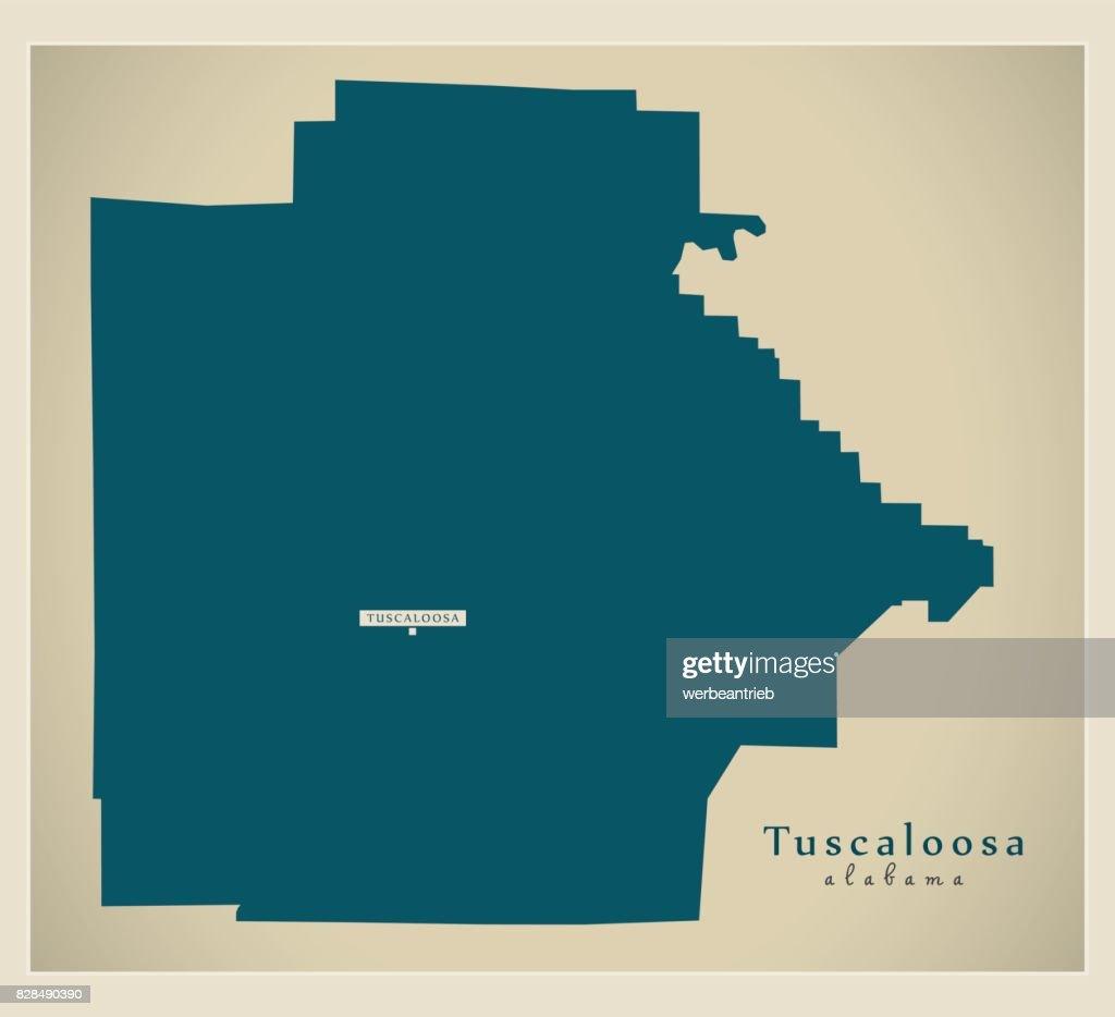 Modern Map - Tuscaloosa Alabama county USA illustration