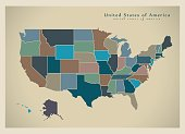 Modern Map - USA with coloured federal states illustration