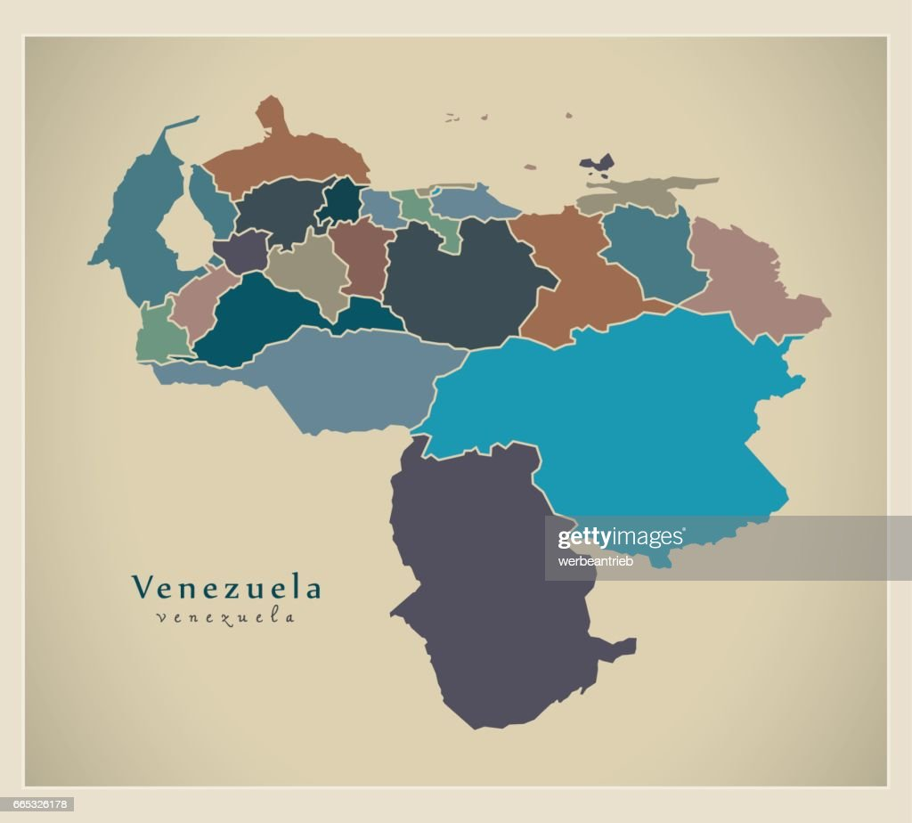Modern Map - Venezuela with federal states colored VE