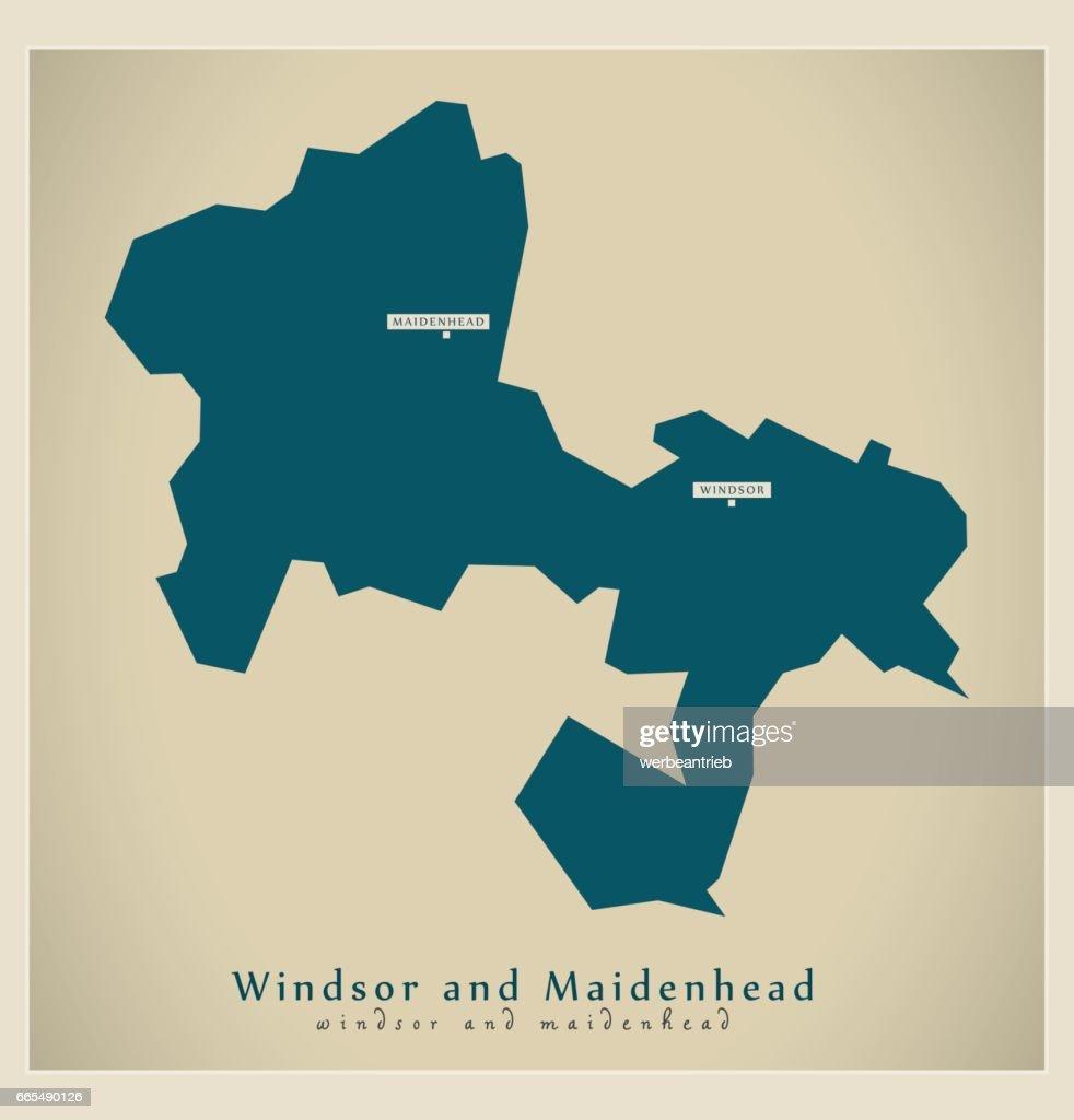 Modern Map - Windsor and Maidenhead unitary authority England UK