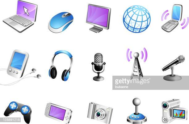 modern media 3d royalty free vector icon set - microphone transmission stock illustrations
