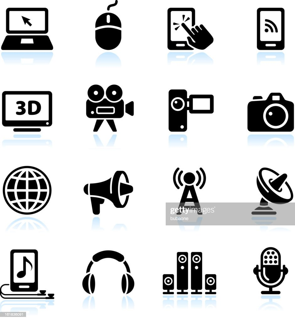 Modern media and technology black & white vector icon set