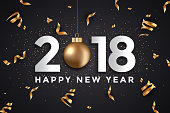 Modern Merry Christmas and Happy New Year 2018 card
