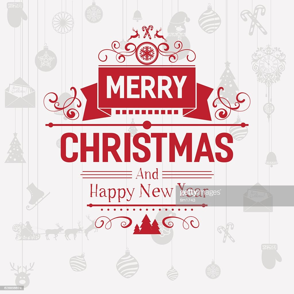 Modern Merry Christmas and New Year greetings badge emblem