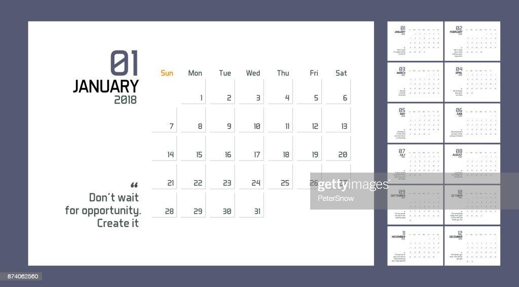 Modern Minimal Calendar Planner Template For 2018 Year Vector Design