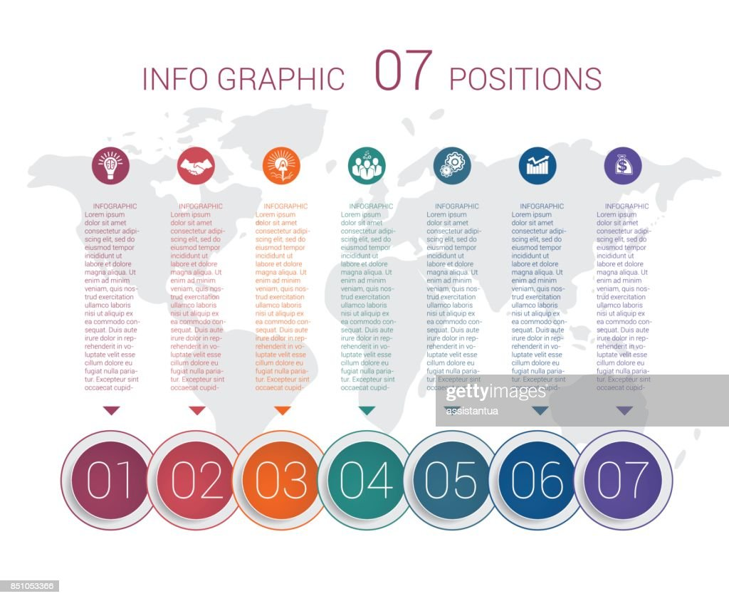 Modern minimal colorful diagram info graphics. Vector template 7 positions against the background of the world map.